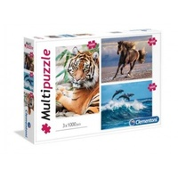 Clementoni MultiPuzzle Horse - Dolphins - Tiger Jigsaw Puzzles