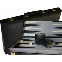 Backgammon Black Alligator Skin 15""