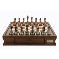 "Dal Rossi Chess Set 16"", With Antique Green and Copper Finish Chessmen"