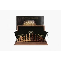 Dal Rossi Chess Set folding walnut, inlaid, 18""
