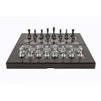 Dal Rossi Carbon Fibre Finish Folding Chess Set, 16""