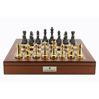 "Dal Rossi Italy Gold & Titanium Chess Pieces on Walnut Finish Chess Box 20"" with compartments"