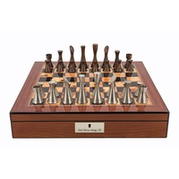 "Dal Rossi Chess set Contemporary Walnut Finish Chess Box 16"" with compartments"