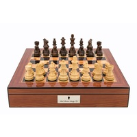 Dal Rossi Italy Staunton Wooden 85mm Chess Pieces on Walnut Shiny Finish Chess Box 16ÔÇØ with compartments