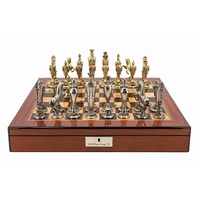 "Dal Rossi Italy Renaissance Chess Set on Walnut Finish Chess Box 20"" with compartments"