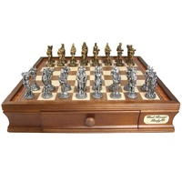 Dal Rossi Italy, Medieval Chess Set Pewter, 95mm
