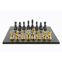 Dal Rossi Italy Gold / Silver Chess Set on Carbon Fibre Finish Chess Board 50cm