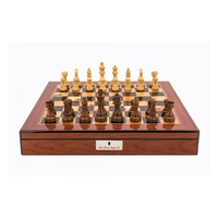 Dal Rossi Italy Walnut Finish chess box with lock & compartments with Staunton Wooden 85mm Chessmen