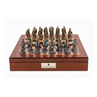 Dal Rossi Italy Walnut Finish chess box with lock & compartments 16ÔÇØ with Dragon Pewter 80mm Chessmen
