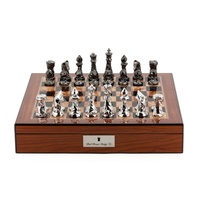 Dal Rossi Chess Set With Diamond-Cut Titanium & Silver 85mm Chessmen Walnut Finish Chess Box 40cm with compartments