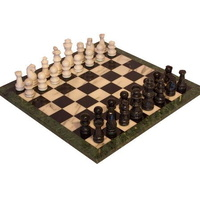 Marble Chess Set Black & White Pieces & Green Edge 16""