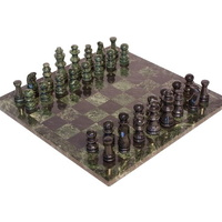 Marble Chess Set Black & Green Pieces & Green Edge 16""