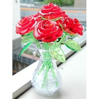 3D Crystal Puzzle - 6 RED ROSES
