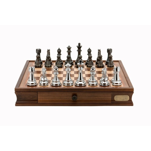 "Dal Rossi Italy Chess Set 20"", With Titanium Black & Silver Weighted Chess Pieces 101mm pieces"