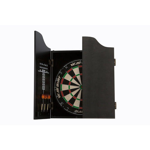 Dal Rossi Carbon Fibre Finish Full Size Dart Set complete with bristle dart board and darts