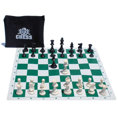 Wood Expressions - Ultimate Compact Tournament Chess Set with Green Fold-up Board & Triple Weighted Pieces